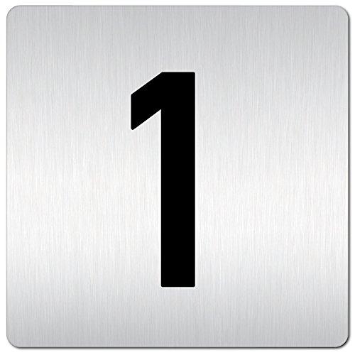 Kinekt3d Leitsysteme XXL Schild - Türschild • 125 x 125 mm • 1 Zahl/Zahlenschild - Türnummern • 1,5 mm Aluminium Vollmaterial • 100% Made in Germany