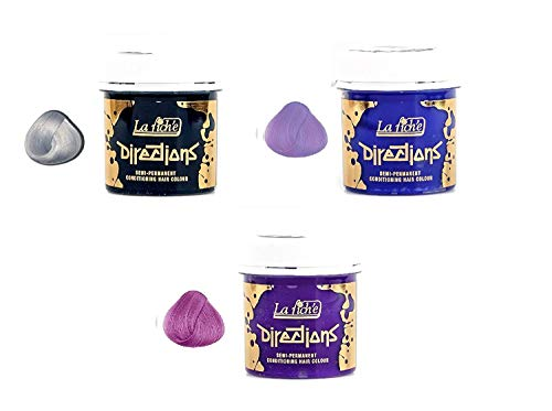 3 X La Riche Directions Semi-Permanent Hair Colour Silver, Lilac & Lavender