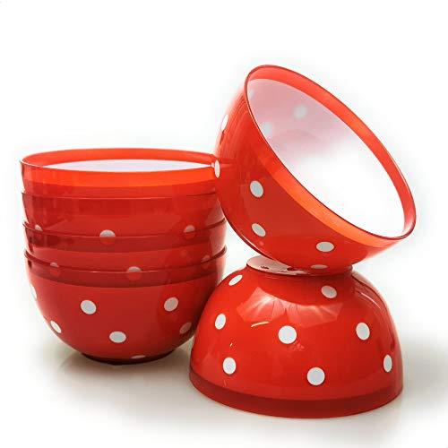 Berossi Müslischale Suppenschüsseln rot gepunktet Suppenschüssel | Müslischalen runde Schalen kleine Schüsseln Müslischüssel Schüssel Set | Retro Müsli Schale Servierschale 700 ml | 6 Stück