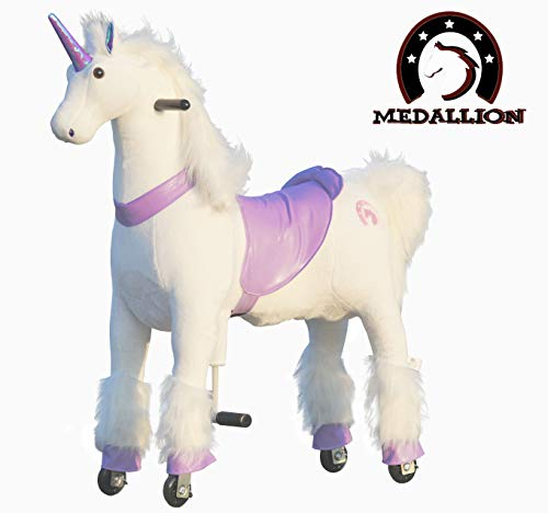 Medallion - My Pony Ride On Real Walking Horse for Children 5 to 12 Years Old or Up to 110 Pounds (Color Medium Purple Unicorn) for Girls 5 to 12 Years Old