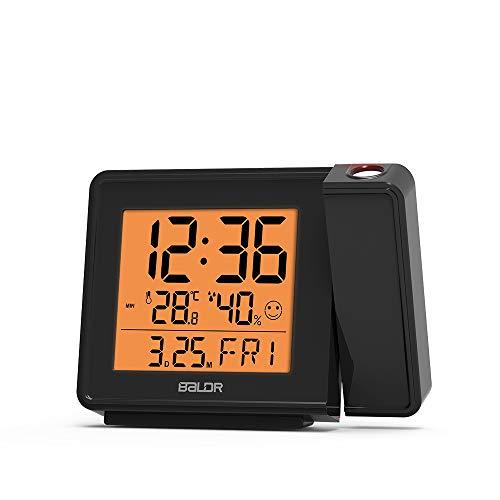 BALDR Projection Alarm Clock - Atomic Clock Project Time on Ceiling for Bedrooms - Display Calendar & Indoor Temperature - Adjustable Backlight & Projection Brightness – CL0367BL