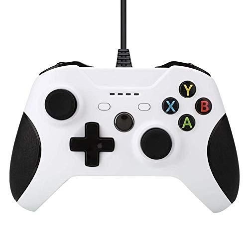 HNQH Controlador con Cable para Xbox One, Controlador de Juegos USB Gamepad Joystick de Juego de vibración Dual con Puerto de Auriculares de 3,5 mm para PC Windows 7/8/10 Xbox One