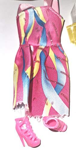MINOCOOL Juego de moda para la muñeca compuesto por 2 vestidos elegantes y 2 pares de tacones altos, para muñecas de 1,1 pulgadas, también para muñecas Barbie