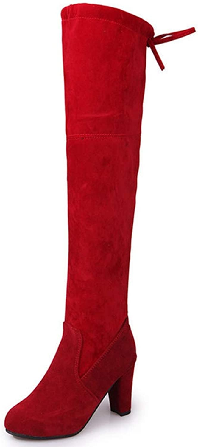 Hoxekle Woman Over The Knee Boots Square High Heel Sexy Ladies Lace Up Round Toe Winter Plush Warm Fashion Long Boots
