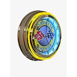 Corvette Garage Yellow Neon Clock Design - 19 inch Diameter Double Neon Clock