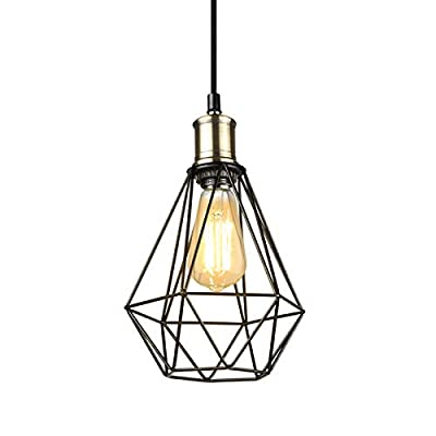 Ascher Industrial Pendant Light, Black Metal Cage Hanging Ceiling Lamp, Adjustable Cord, E26 Base Ceiling Light Fixture, Pack of 1(Bulb not Included)