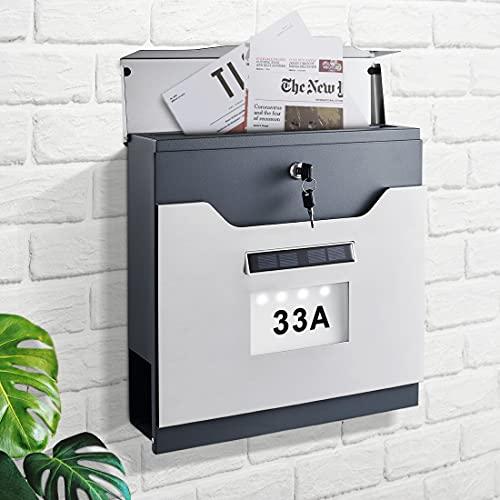 WOOHSE Briefkasten Solar mit Zeitungsfach und Solarhausnummer, Abschließbar, 2 Schlüssel, Edelstahl-Briefkastenl, Einfache Montage, Maße: BxHxT: 370 x 365 x 105 mm