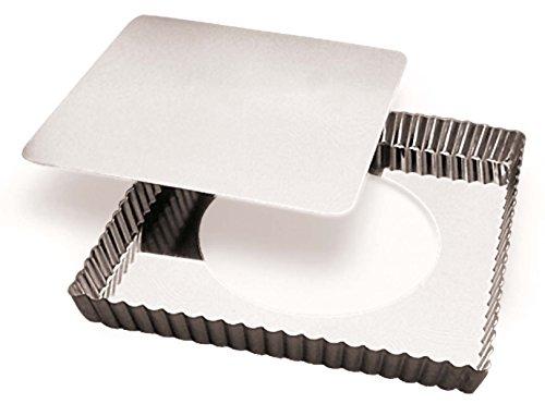 Gobel 126810 Moule à Tarte Cannelé Carré Fond Mobile Fer Blanc 23 cm