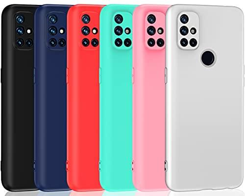 ivoler 6 Stücke Hülle für OnePlus Nord N10 5G, Ultra Dünn Tasche Schutzhülle Weiche TPU Silikon Gel Handyhülle Hülle Cover (Schwarz, Blau, Rot, Grün, Rosa, Weiß)