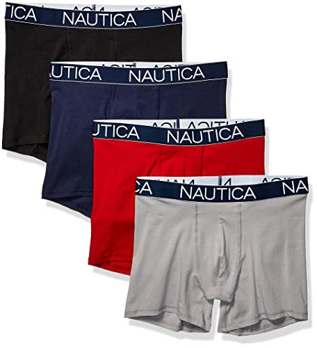 Nautica Men#039s Cotton Stretch 4 Pack Boxer Brief Black/Peacoat red/Alloy XLarge