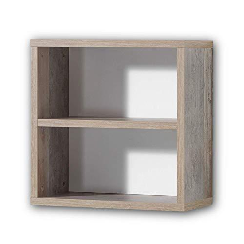 Stella Trading MOON Jugendzimmer Hängeregal - vielseitig einsetzbares Wandregal in Driftwood-Optik, weiß - 49 x 49 x 25 cm (B/H/T)