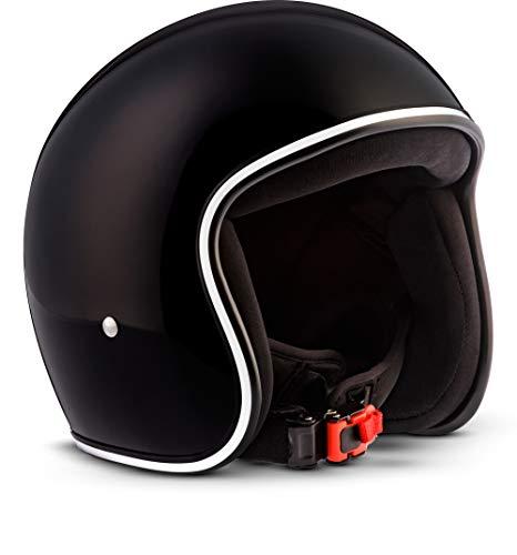"Rebel · R2 ""Shiny Black"" (Schwarz) · Jet-Helm · Roller Retro Scooter-Helm Motorrad-Helm Mofa Chopper · Fiberglass · Extra small Shell · Click-n-Secure™ Clip · Tragetasche · M (57-58cm)"