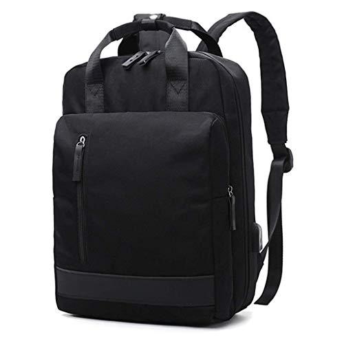 HEMFV バックパック防水学校バックパック付きusb充電ポートキャンバス大学生リュックサック用旅行屋外キャンプデイパック (Color : Black)
