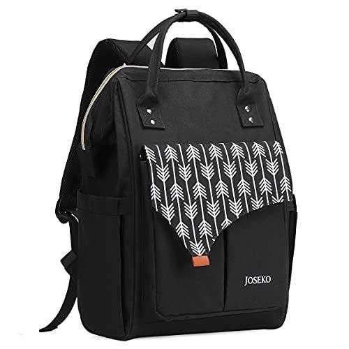 JOSEKO Daypack Damen Schulrucksack, Laptop Rucksack Schwarz mit USB Ladeanschluss und Laptopfach Stylischer Daypack Geeignet für Schule Universität Arbeit Freizeit Wandern Reisen Camping