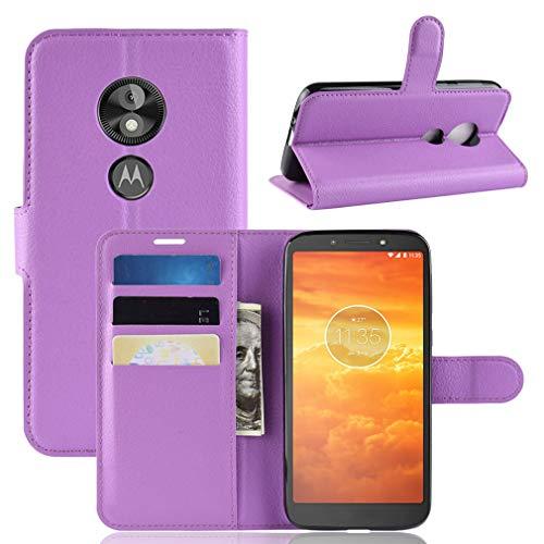 LMFULM® Hülle für Motorola Moto E5 Play (5.3 Zoll) [Fit UK Version only] PU Leder Magnet Brieftasche Lederhülle Handytasche Litschi Muster Standfunktion Ledertasche Flip Cover Lila