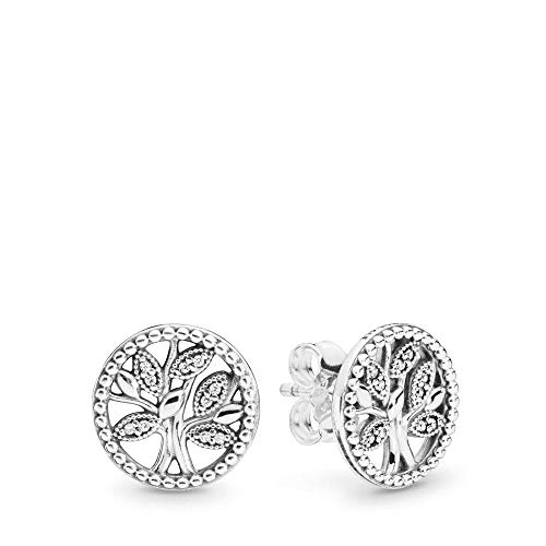 Pandora Jewelry - Sparkling Family Tree Stud Earrings for Women in Sterling Silver with Clear Cubic Zirconia