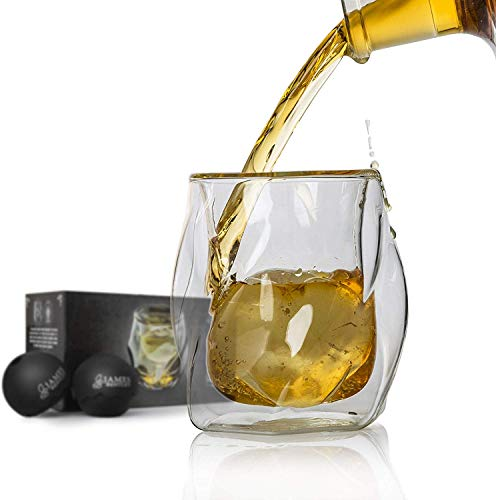 James Bentley Whiskey Glasses set+FREE Ice Ball Molds; Double wall glass for whisky glasses set, for Drinking Scotch, bourbon, Luxury Gift Set 5.9Oz