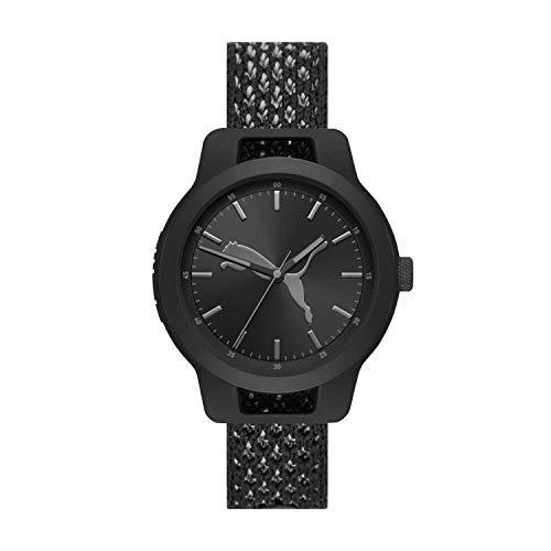 PUMA Men Reset V1 Nylon Watch, Color: Black/Black (Model: P5058)