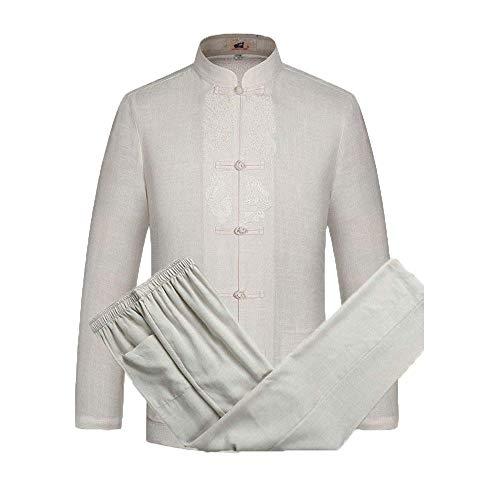 Tai Chi Anzug Chinesische Kung Fu Kleidung Tang Anzug Traditionelle Klassische Kostüme Kampfkunst Qigong Für Männer Frauen,Beige-S