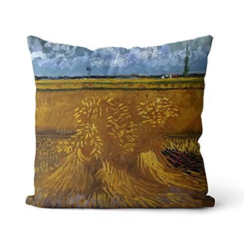 Obra De Arte Campo De Trigo Cojín Van Gogh 45x45cm Resistente a la luz, antiincrustante, hipoalergénico con Cremallera Invisible