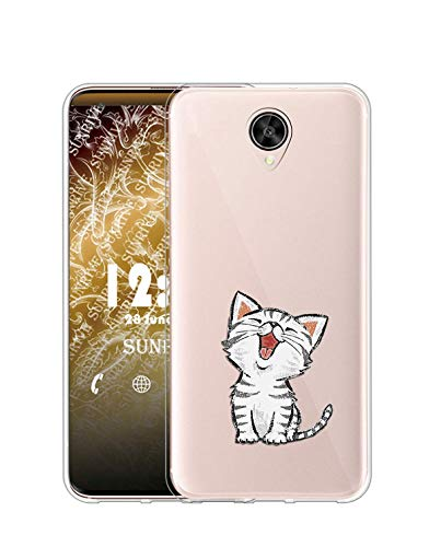 Sunrive Kompatibel mit Meizu Pro 6 Plus Hülle Silikon, Transparent Handyhülle Schutzhülle Etui Hülle (TPU Katze 2)+Gratis Universal Eingabestift MEHRWEG