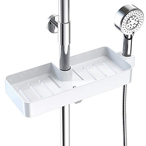 SUNDUO Shower Caddy, Plastic Shower Shelf with Shower Head Holder, Adjustable Height Bathroom Organizer for Hand Soap and Shampoo, Not Including Tension Pole