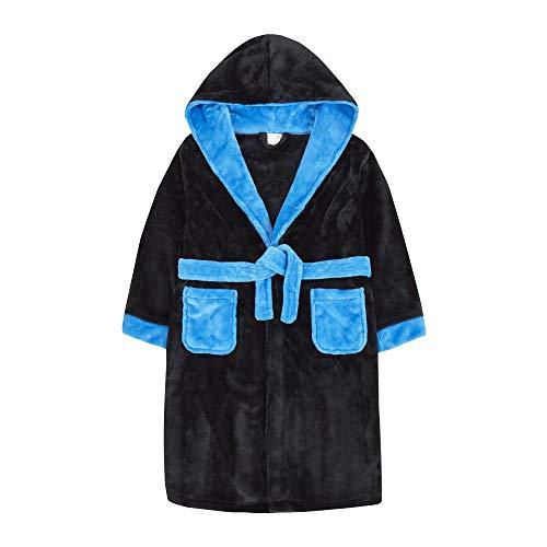 4Kids Kinder-Bademantel für Jungen, warm, zweifarbiger Fleece Gr. 7-8 Jahre, schwarz / blau
