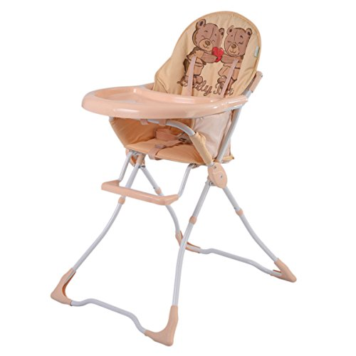 Costzon Adjustable Baby High Chair Infant Toddler Feeding Booster Seat Folding (Removeable Tray, Tan)