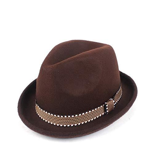 YUANBO WU Gentleman Cap Topper Sombrero de Copa Sombrero de ala Jazz Atractiva Mujer de Piel Sombrero Inteligente (Color : Café, Size : 56-58)