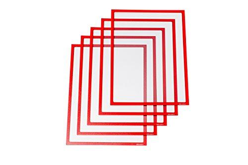 Ultradex 889005 Infotasche magnetisch für DIN A4, 5-er Packung, 312 x 225 mm, rot