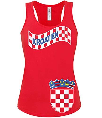 Golebros Kroatien Croatia Hrvatska Fussball Fußball Trikot Look Jersey Fanshirt Damen Frauen Mädchen Tank Top Tanktop Fan Fanartikel Outfit Bekleidung Oberteil Artikel