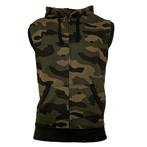 ROCK-IT Apparel® Zipped Hoodie ärmellos für Herren Sleeveless Fitness Kapuzenpullover Männer Sweater Trainingsweste Sweatshirt Tank Top S-4XL Farbe Camouflage Grün/Braun S