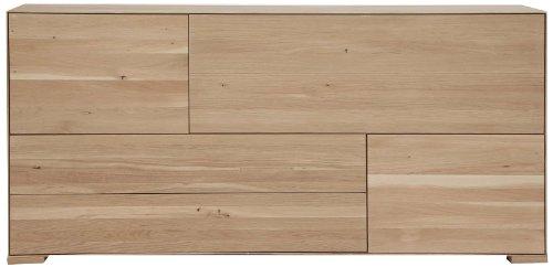 Excellent 996147 Sideboard 1 Klap mit 2 Türen und Schubladen, Wildeiche Massiv, 85 x 180 x 45 cm, weiß geölt
