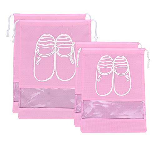 SPIKG 4 Pcs Travel Dust-proof Shoe Bags with Drawstring and Transparent Window Shoe Organizer Space Saving Storage Bags? 2XL+2L?
