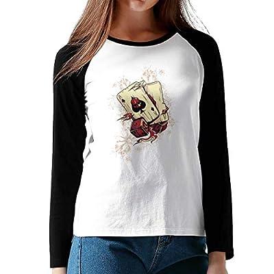 Onesunc FashionWomen Print Devil Poker Cotton Graphic Long Sleeve Baseball T-Shirts XL Black from Onesunc