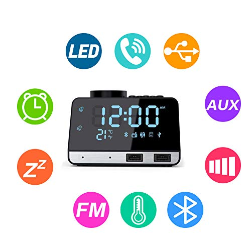 Flightbird Bluetooth Despertador Radio, FM 4.2 Pulgadas Reloj Digital Alarma con Dual USB Puertos Pantalla LCD Regulable y Termómetro de Interio Función Snooze (Negro)