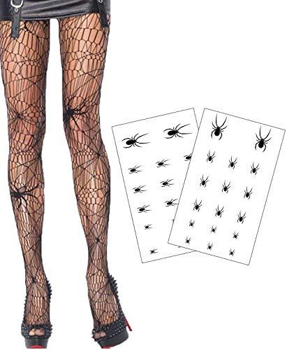 Hook Halloween Strumpfhose Damen, Spinnen Strumpfhose Spinnennetz, 2Pcs Spider Tattoo, Netzstrumpfhose Halloween Strumpfhosen Damen Halloween für Erwachsene