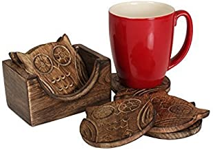 Store Indya Handmade Owl Shaped Wooden Bar Coasters with Holder (Set of 4)