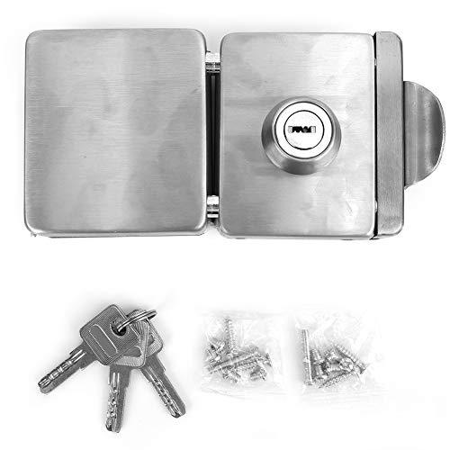 Cerradura de puerta de vidrio de 10-12 mm Puerta doble cuadrada abierta sin marco Puerta corrediza de empuje Cerradura de acero inoxidable 3 llaves