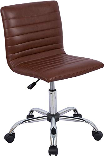 Home Office Chair, Computer Chair Adjustable Height Ribbed Low Back Armless Swivel Conference Room Task Desk Chairs, Brown