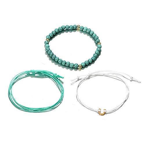 AueDsa Damen Fusskette Kupfer Multilayer zählen und Seilen Sich mit U-Charms Fußkette Damen Grün