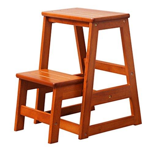 LRZLZY Massivholztreppenstuhltritthocker multifunktionales Küchentritthocker Falt Haushalts Schritte Holztrittleiter Ladder Stabilität und Sicherheit