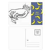 仏教の手目の線描画パターン バナナのポストカードセットサンクスカード郵送側20個