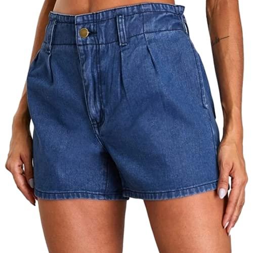 Corumly Pantalones Cortos de Mezclilla para Mujer Pantalones Cortos de Mezclilla de Cintura elástica Informales Simples Europeos y Americanos Pantalones Cortos de Mezclilla de Moda y cómodos L