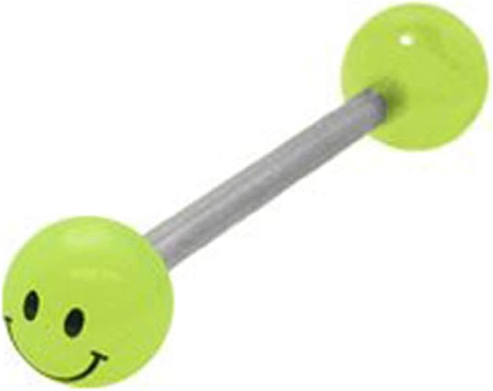 BodyJewelryOnline Glow in The Dark Smiley Face Barbell Tongue Ring Green