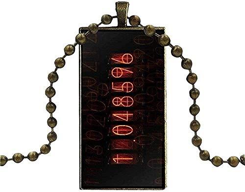 Yaoliangliang Cabujón de Cristal de Color Bronce con Gargantilla Colgante Rectangular para Mujer joyería Steins Gate medidor de divergencia