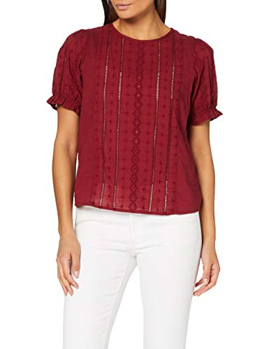 ONLY Damen ONLTHEO S/S TOP WVN Bluse, Pomegranate, 34