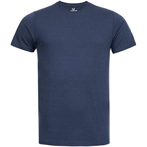 Woolday I Merinopower I Merino Herren T-Shirt Rundhals aus Reiner, Ultra-feiner Merinowolle I Stoff gefertigt in DE, genäht in Portugal I Navy Blau I M
