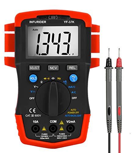 Multimetro Digitale INFURIDER YF-37K 4000 Conteggi TRMS Volt Amp Ohm Meter Auto-range, Accurato per AC DC Tensione Corrente Resistenza Cap Hz Diodo e Continuity Tester