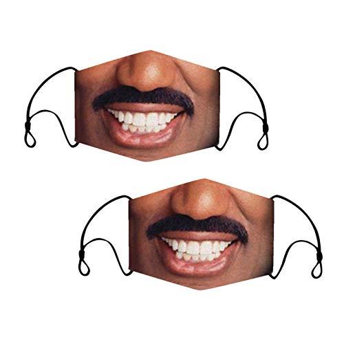 Eilecentyhzm Lustige Gesichtsdruck Face Covering Bandana Verstellbare Loop Halstuch Funny Menschliches Gesicht und und Nasenschutz Wiederverwendbar Multifunktional 2 Stück Mundbedeckung